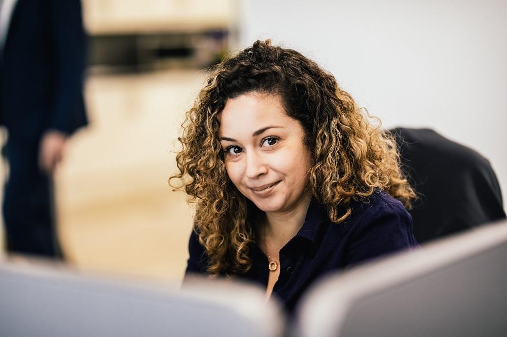 Elizabeth at desk